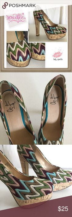 "Chevron Diba Girl Heels In excellent used condition, these Diba Girl platforms will surely give you some extra height, and gain some popularity among your girlfriends 🤩 Chevron fabric print, colors rose gold, green, cream, mahogany, and deep blue, cork heels size 6, a little over 5"". Gently used, heels have unnoticeable scratches. Diba Shoes Platforms"