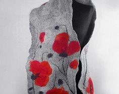 Felted Scarf Poppy Poppies Wrap Scarves Felt Nunofelt Nuno felt Silk Silkyfelted Eco shawl Fiber Art Much more beautiful than the picture! A Scarf Nuno Felt Scarf, Felted Scarf, Nuno Felting, Needle Felting, Red Poppies, Poppies Art, Do It Yourself Jewelry, Textiles, Felt Art