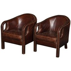 Mid-20th Century French Leather Club Chairs   From a unique collection of antique and modern club chairs at https://www.1stdibs.com/furniture/seating/club-chairs/