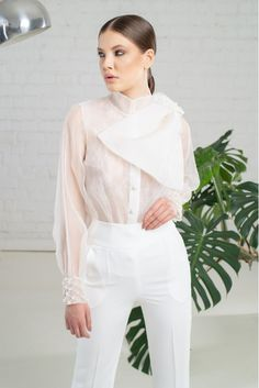 Silk Organza and Lace Blouse with Bow Silk Organza, Virtual Closet, White Jeans, Bow, Blouse, Lace, Fashion, Arch, Moda