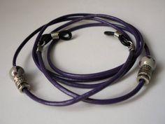 Purple Leather Eyeglass Chain HolderNew Greek Ceramic   Etsy Natural Earth, Chains For Men, Purple Leather, Ceramic Beads, Reading Glasses, Leather Cord, Jewelry Trends, Eyeglasses, Eyewear