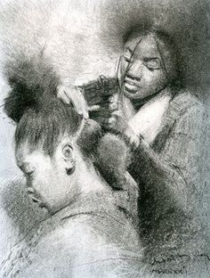 I love combing my daughter's hair. It takes work and I can always improve, but tending to her hair is a joy to me! #black #art #blackhair