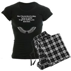 Castiel's Prayer pajama set. Repinning because I just ordered this and I can't wait til it comes in. Wheee!