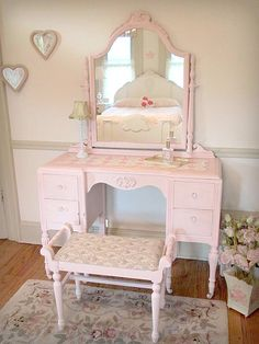 Antique Pink Vanity with Mirror and Bench
