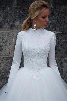 Vintage Satin High Collar Natural Waistline Ball Gown Wedding Dress-Pgmdress