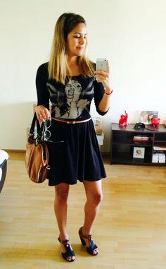 Vestido negro H&M, Zapatos PAEZ