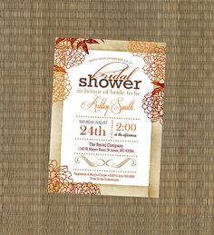 Bridal Shower Invitation - Vintage Fall Wedding Shower Invitation - Shabby Chic Autumn Shower Invitation - Orange, Burgandy, Brown