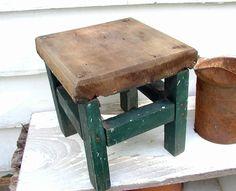 Barn Find - Vintage Milking Stool Hand Made Original Green Paint