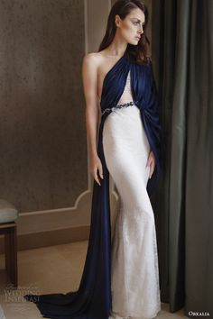 orkalia couture fall 2014 lace dress one shouler navy overlay