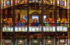 One of the stained glass windows in First United Methodist Church, St. Petersburg, FL