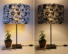 Lampshades made out of recycled plastic bags.  Genius!