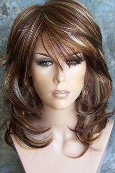 Women Brown Medium Inclined Bang Layered Natural Wave Synthetic Wig - One Size Haircuts For Medium Hair, Wedding Hairstyles For Medium Hair, Pretty Hairstyles, Short Hair Cuts, Wig Hairstyles, Medium Hair Styles, Curly Hair Styles, Medium Shag Hairstyles, Hair Color Balayage