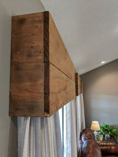 Making wood cornice valences would be perfect with the wood trim in the new classroom. Casa Rock, Wooden Valance, Window Cornices, Wood Valances For Windows, Wooden Windows, Wood Trim, Weathered Wood, Wooden Diy, Home Projects
