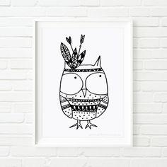 Digital Printable Owl Indian, black and white art, kid's art, nursery art, children's art, illustrated print, illustrated art, whimsical art