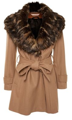 AWear Camel Fur Collar Wrap Coat, £80