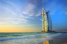 Highest hotel in the world, 7 stars. The Burj Al Arab. Dubai. On an artificial island.
