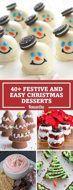 Top off a delicious holiday meal with these easy dessert recipes, guaranteed to make your day merrier. The melted snowman Oreo balls are made with cookies, cream cheese and melted chocolate. Christmas Dessert Recipes, Christmas Deserts Easy, Easy Christmas Baking Recipes, Christmas Bake Off, Christmas Foods, Easy Holiday Desserts, Top Christmas Gifts 2016, Christmas Meal Ideas Holidays, Christmas Desserts For Kids To Make