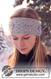 "Knitted DROPS gloves and head band in ""Alpaca"" with cables and bobbles. ~ DROPS Design"