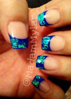 Shire Colored Acrylic French Iridescent Mylar Inlay Blue Turquoise Aquamarine Green Short Nails Nailart Bling Using