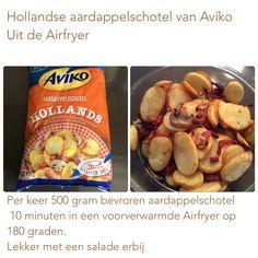 Hollandse aardappelschotel van Aviko in de Airfryer. 10 minuten op 180 graden. AK