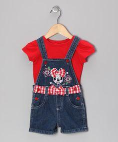 d90fb3620 Loving this Red Minnie Tee & Denim Shortalls - Toddler on #zulily! #