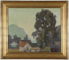 Coastal village with eucalyptus, signed and dated lower right: Aaron Kilpatrick 1924, numbered verso: 202, oil on canvas laid to canvas, 20'' H x 24'' W,  Provenance: Private Collection, Tustin, CA