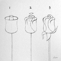 Art Sketchbook Easy Step By Step Pencil Art Drawings, Art Drawings Sketches, Doodle Drawings, Easy Drawings, Flower Drawing Tutorials, Flower Sketches, Art Tutorials, Fleurs Art Nouveau, Doodle Art For Beginners