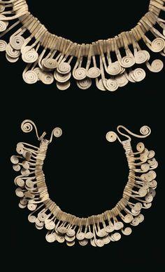 Necklace | Alexander Calder.  Brass on leather.  ca. 1940  | Est. 100'000 - 150'000$ ~ (Mar '15)