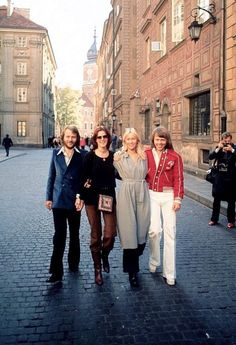 ABBA strolling around in the city of Warsaw during their Poland visit early October 1976.