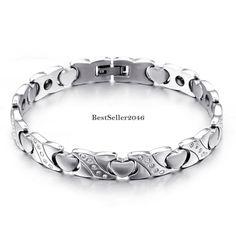 Love Herz Link Gesundheit Magnet Armband Edelstahl Damen Armkette Armreif