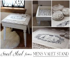 A men's dated valet stand becomes a pretty stool for her! - confessionsofaserialdiyer.com - MUST, MUST DO