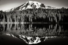 thor_mark  posted a photo:  One of the many image captures I took this last morning in Mount Rainier National Park. The calm lake waters and setting were amazing to take in, even more so as no one else was around. I had the lake and mountains to myself...heavenly! I later used a Sepia Landscape recipe in Silver Efex Pro 2 as it brought out a richer tonal contrast for the final image.