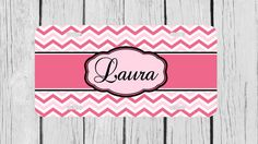 Personalized Monogrammed Chevron Hot Pink License by TopCraftCase