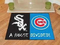 Are your homes' loyalties divided between the Reds - Indians? Then this Chicago White Sox – Chicago Cubs house divided mat is perfect for your home. Chicago Baseball, Chicago White Sox, Chicago Cubs Logo, Custom Mats, House Divided, Nylon Carpet, Cubbies
