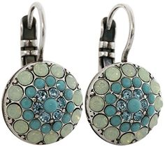 Mariana Silvertone Moondust Round Crystal Earrings Blue Lagoon 1141 1205 ** Click on the image for additional details.(This is an Amazon affiliate link and I receive a commission for the sales)