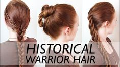 Vintage Hairstyles Swabian knot (middle) works on my hair!Real Ancient Warrior Hairstyles for Men - Vikings, Suebian Knot, Scythians Easy Hairstyles For School, Easy Hairstyles For Medium Hair, Afro Hairstyles, Vintage Hairstyles, Viking Hairstyles, Drawing Hairstyles, Iron Age, Alter Krieger, Pelo Vintage