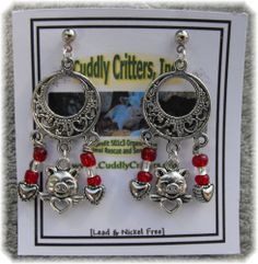 Tibetan Silver Angel Pig with a Heart Dangle Red Earrings Made in the USA #Handmade #DropDangle  Check out these piggy earrings on eBay, 100% goes to support Cuddly Critters. Please contact me directly if you have any questions or would like a special order made.