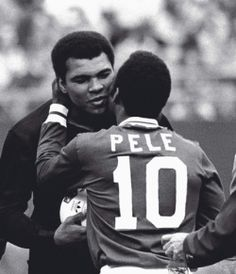 johnandmario:  Pele embracing Muhammad Ali at his last game.