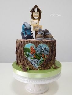 Tramp cake by MOLI Cakes Fondant Cakes, Cupcake Cakes, Cupcakes, Nature Cake, Mountain Cake, Camping Cakes, Panda Cakes, Gravity Cake, Woodland Cake
