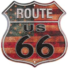 Vintage Replica Tin Metal Sign Route 66 Rt Rd highway america license plate tags