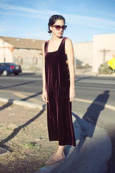 burgundy velvet jumper maxi dress vintage $32