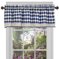 Buffalo Check Navy 58 x 14-Inch Window Curtain Valance