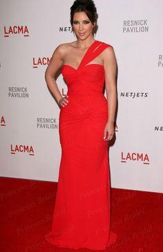 Free Shipping Easy Mermaid One Shoulder Floor Length Chiffon Red Carpet Dress Celebrity Kim Kardashian MF051