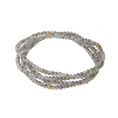 Wholesale multiple strand gray beaded stretch bracelet gold bead accents