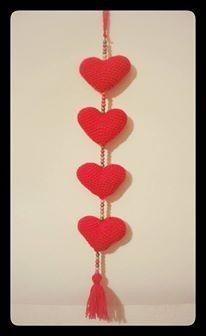 colgante tira de corazones y buhos - amigurumi - crochet
