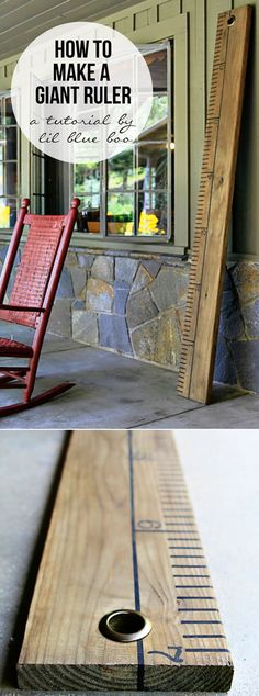 """How to make a DIY oversized wooden ruler as home decor or for a growth chart - for my own spin on this, I would buy wood stain not make mine from scratch as this lady does in her post. Thus making this an """"easy craft""""."""