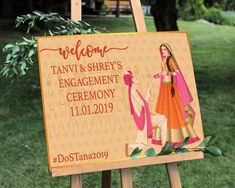 Engagement welcome sign Indian engagement ceremony sign Indian Wedding Invitation Cards, Wedding Invitation Card Template, Engagement Invitations, Digital Invitations, Invites, Wedding Welcome Signs, Wedding Signs, Wedding Cards, Desi Wedding Decor