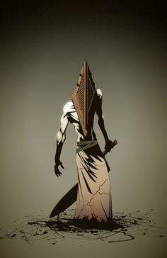 Pyramid Head - by Fernando Alberto Lucas Horror Movie Characters, Horror Movies, Silent Hill Art, Pyramid Head, Psychological Horror, Light Of My Life, Horror Art, Halloween Themes, Game Art