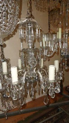 Found on estatesales large baccarat chandelier items of net glass arm two tier teardrop prism chandelier aloadofball Images