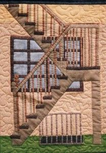 "Staircase quilt block in ""My Dream House"". A dollhouse quilt by Angie Padilla. She now has a CD of dollhouse patterns born out of this quilt. House Quilts, Fabric Houses, Children's Quilts, Dollhouse Quilt, Playroom Art, Landscape Quilts, Dream House Exterior, Modern Exterior, House In The Woods"